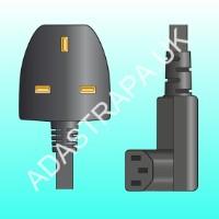 Mercury 114.021  UK Plug to Right Angle IEC Power Lead