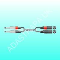 Chord 190.033 26J-2XM075 Classic 2 XLRM to 2 Jack Plug Lead